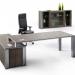 Chefschreibtisch, Bürostuhl in Leder, Echtholzschreibtisch